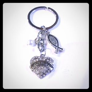 Faith Believe Heart Sparkle Inspirational Keychain